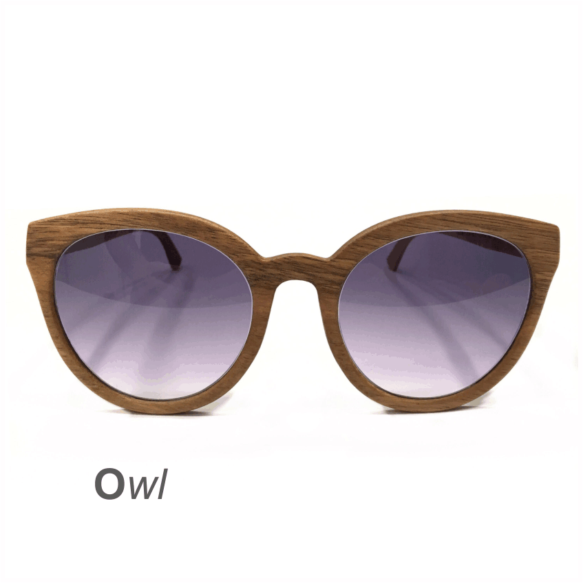 Wooden Sunglasses - Owl